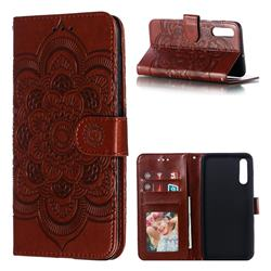 Intricate Embossing Datura Solar Leather Wallet Case for Samsung Galaxy A50 - Brown