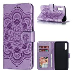 Intricate Embossing Datura Solar Leather Wallet Case for Samsung Galaxy A50 - Purple