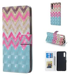 Color Wave 3D Painted Leather Phone Wallet Case for Samsung Galaxy A50