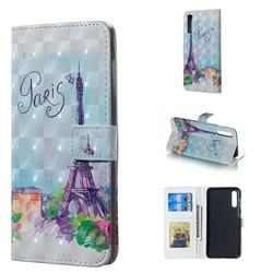Paris Tower 3D Painted Leather Phone Wallet Case for Samsung Galaxy A50
