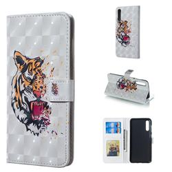 Toothed Tiger 3D Painted Leather Phone Wallet Case for Samsung Galaxy A50