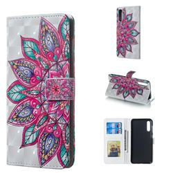 Mandara Flower 3D Painted Leather Phone Wallet Case for Samsung Galaxy A50