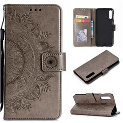 Intricate Embossing Datura Leather Wallet Case for Samsung Galaxy A50 - Gray