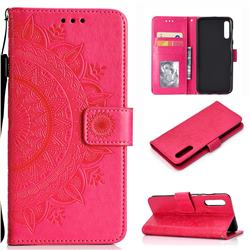 Intricate Embossing Datura Leather Wallet Case for Samsung Galaxy A50 - Rose Red
