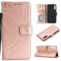 Intricate Embossing Datura Leather Wallet Case for Samsung Galaxy A50 - Rose Gold
