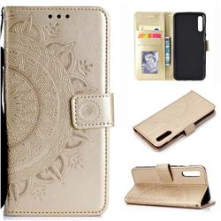 Intricate Embossing Datura Leather Wallet Case for Samsung Galaxy A50 - Golden