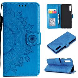 Intricate Embossing Datura Leather Wallet Case for Samsung Galaxy A50 - Blue