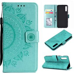 Intricate Embossing Datura Leather Wallet Case for Samsung Galaxy A50 - Mint Green