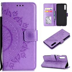 Intricate Embossing Datura Leather Wallet Case for Samsung Galaxy A50 - Purple