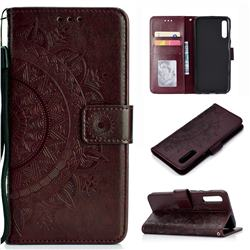Intricate Embossing Datura Leather Wallet Case for Samsung Galaxy A50 - Brown