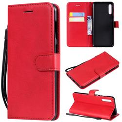 Retro Greek Classic Smooth PU Leather Wallet Phone Case for Samsung Galaxy A50 - Red