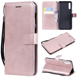 Retro Greek Classic Smooth PU Leather Wallet Phone Case for Samsung Galaxy A50 - Rose Gold
