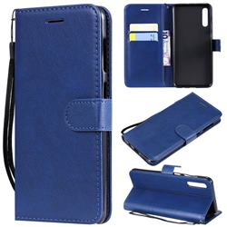 Retro Greek Classic Smooth PU Leather Wallet Phone Case for Samsung Galaxy A50 - Blue