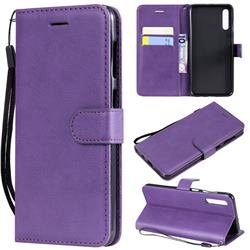 Retro Greek Classic Smooth PU Leather Wallet Phone Case for Samsung Galaxy A50 - Purple