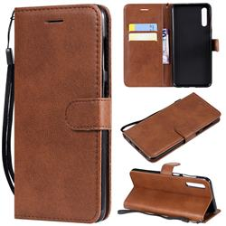 Retro Greek Classic Smooth PU Leather Wallet Phone Case for Samsung Galaxy A50 - Brown