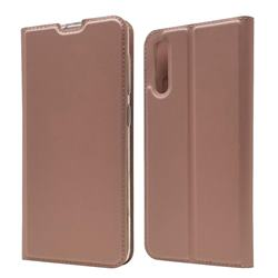 Ultra Slim Card Magnetic Automatic Suction Leather Wallet Case for Samsung Galaxy A50 - Rose Gold