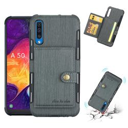 Brush Multi-function Leather Phone Case for Samsung Galaxy A50 - Gray