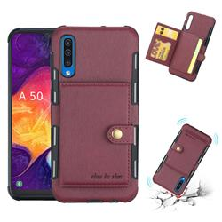 Brush Multi-function Leather Phone Case for Samsung Galaxy A50 - Wine Red