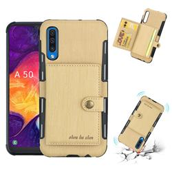 Brush Multi-function Leather Phone Case for Samsung Galaxy A50 - Golden