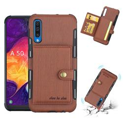 Brush Multi-function Leather Phone Case for Samsung Galaxy A50 - Brown