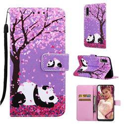 Cherry Blossom Panda Matte Leather Wallet Phone Case for Samsung Galaxy A50