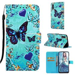 Love Butterfly Matte Leather Wallet Phone Case for Samsung Galaxy A50