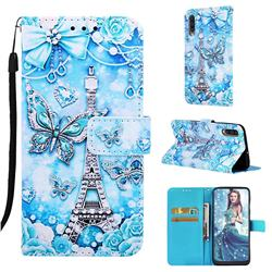 Tower Butterfly Matte Leather Wallet Phone Case for Samsung Galaxy A50