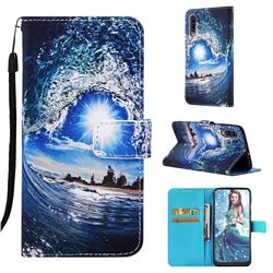 Waves and Sun Matte Leather Wallet Phone Case for Samsung Galaxy A50