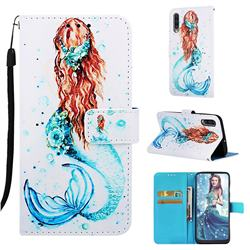 Mermaid Matte Leather Wallet Phone Case for Samsung Galaxy A50