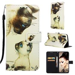 Cat Confrontation Matte Leather Wallet Phone Case for Samsung Galaxy A50