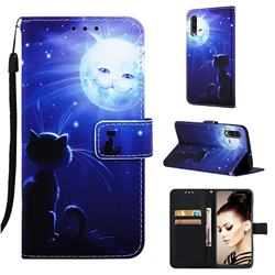 Cat and Moon Matte Leather Wallet Phone Case for Samsung Galaxy A50