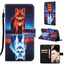 Water Fox Matte Leather Wallet Phone Case for Samsung Galaxy A50