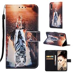 Cat and Tiger Matte Leather Wallet Phone Case for Samsung Galaxy A50