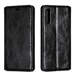 Retro Slim Magnetic Crazy Horse PU Leather Wallet Case for Samsung Galaxy A50 - Black