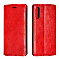 Retro Slim Magnetic Crazy Horse PU Leather Wallet Case for Samsung Galaxy A50 - Red
