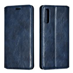 Retro Slim Magnetic Crazy Horse PU Leather Wallet Case for Samsung Galaxy A50 - Blue
