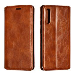 Retro Slim Magnetic Crazy Horse PU Leather Wallet Case for Samsung Galaxy A50 - Brown