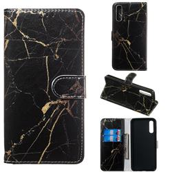 Black Gold Marble PU Leather Wallet Case for Samsung Galaxy A50