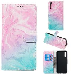 Pink Green Marble PU Leather Wallet Case for Samsung Galaxy A50