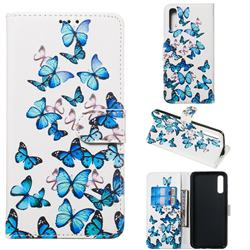 Blue Vivid Butterflies PU Leather Wallet Case for Samsung Galaxy A50