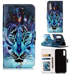 Ice Wolf 3D Relief Oil PU Leather Wallet Case for Samsung Galaxy A50