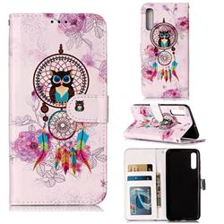 Wind Chimes Owl 3D Relief Oil PU Leather Wallet Case for Samsung Galaxy A50