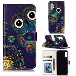 Folk Owl 3D Relief Oil PU Leather Wallet Case for Samsung Galaxy A50