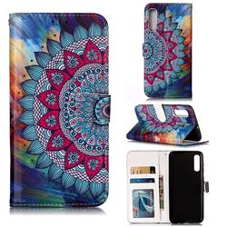 Mandala Flower 3D Relief Oil PU Leather Wallet Case for Samsung Galaxy A50