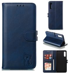 Embossing Happy Cat Leather Wallet Case for Samsung Galaxy A50 - Blue