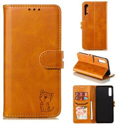 Embossing Happy Cat Leather Wallet Case for Samsung Galaxy A50 - Yellow