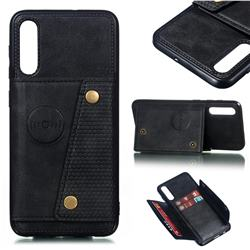 Retro Multifunction Card Slots Stand Leather Coated Phone Back Cover for Samsung Galaxy A50 - Black