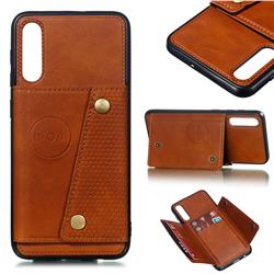 Retro Multifunction Card Slots Stand Leather Coated Phone Back Cover for Samsung Galaxy A50 - Brown
