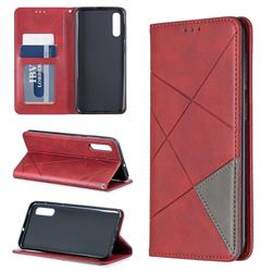 Prismatic Slim Magnetic Sucking Stitching Wallet Flip Cover for Samsung Galaxy A50 - Red