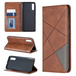 Prismatic Slim Magnetic Sucking Stitching Wallet Flip Cover for Samsung Galaxy A50 - Brown